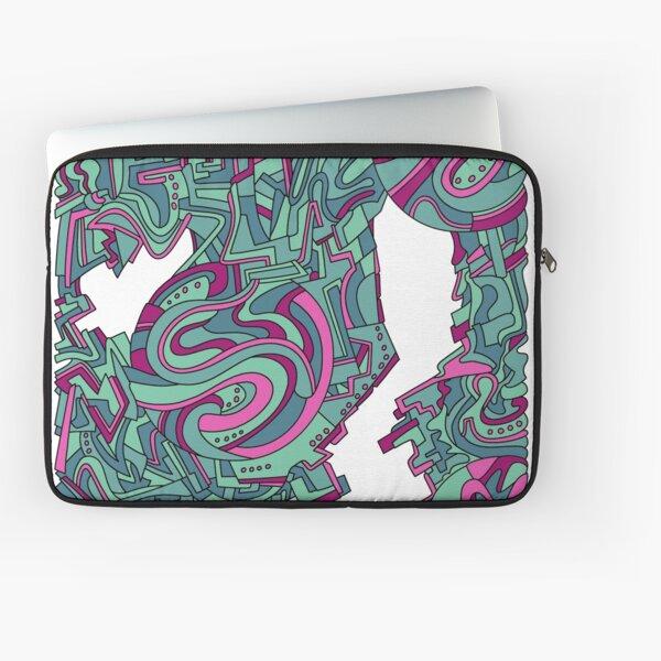 Wandering Abstract Line Art 21: Green Laptop Sleeve