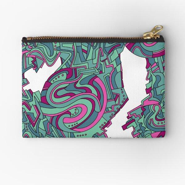 Wandering Abstract Line Art 21: Green Zipper Pouch