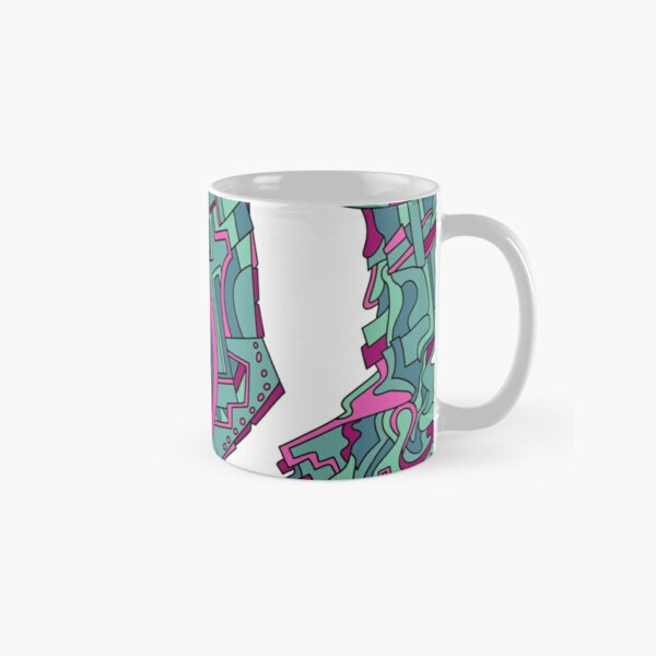 Wandering Abstract Line Art 21: Green Classic Mug