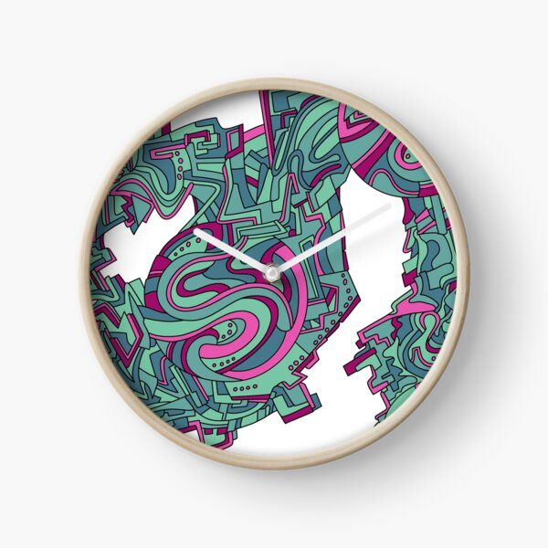 Wandering Abstract Line Art 21: Green Clock