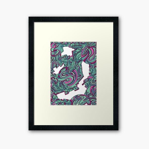 Wandering Abstract Line Art 21: Green Framed Art Print