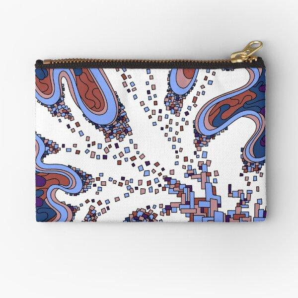 Wandering Abstract Line Art 22: Blue Zipper Pouch