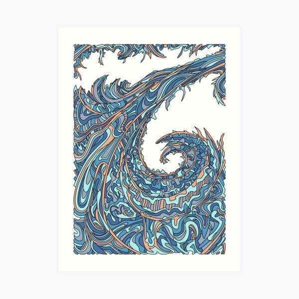 Wandering Abstract Line Art 23: Blue Art Print