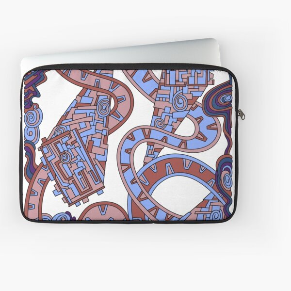 Wandering Abstract Line Art 24: Orange Laptop Sleeve