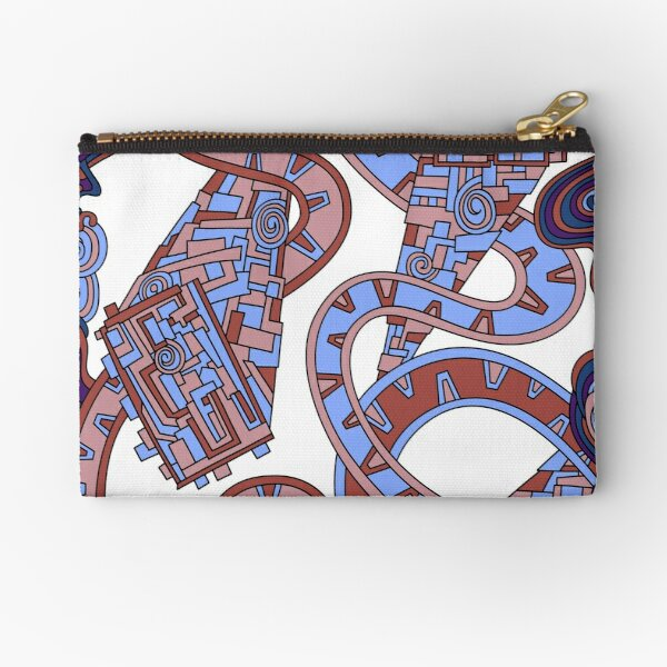 Wandering Abstract Line Art 24: Orange Zipper Pouch