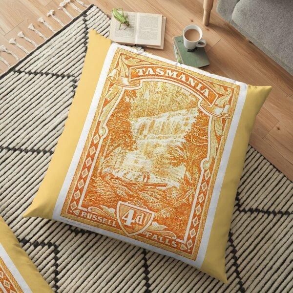Antique Australian postage stamp, 4d Russell Falls Tasmania Floor Pillow