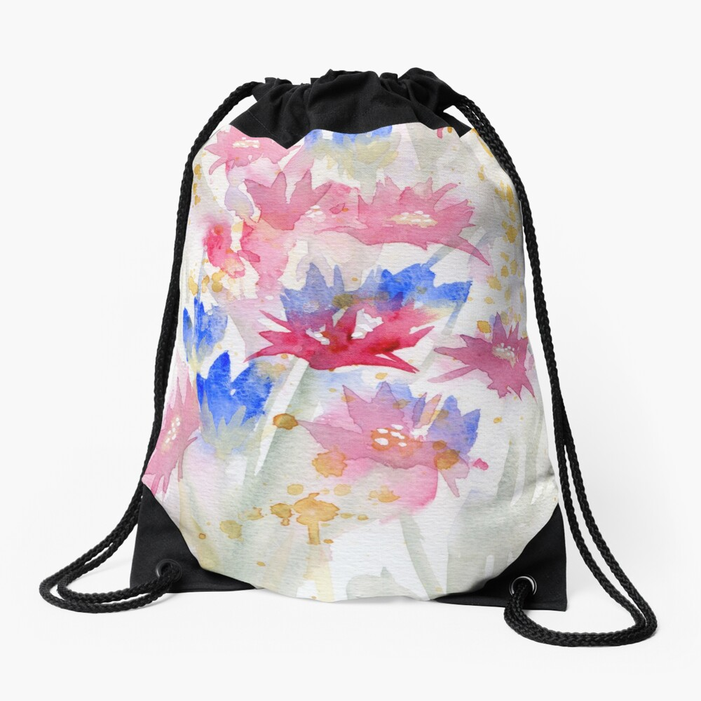 Watercolour Spring Flowers 02 - Limited Palette Drawstring Bag