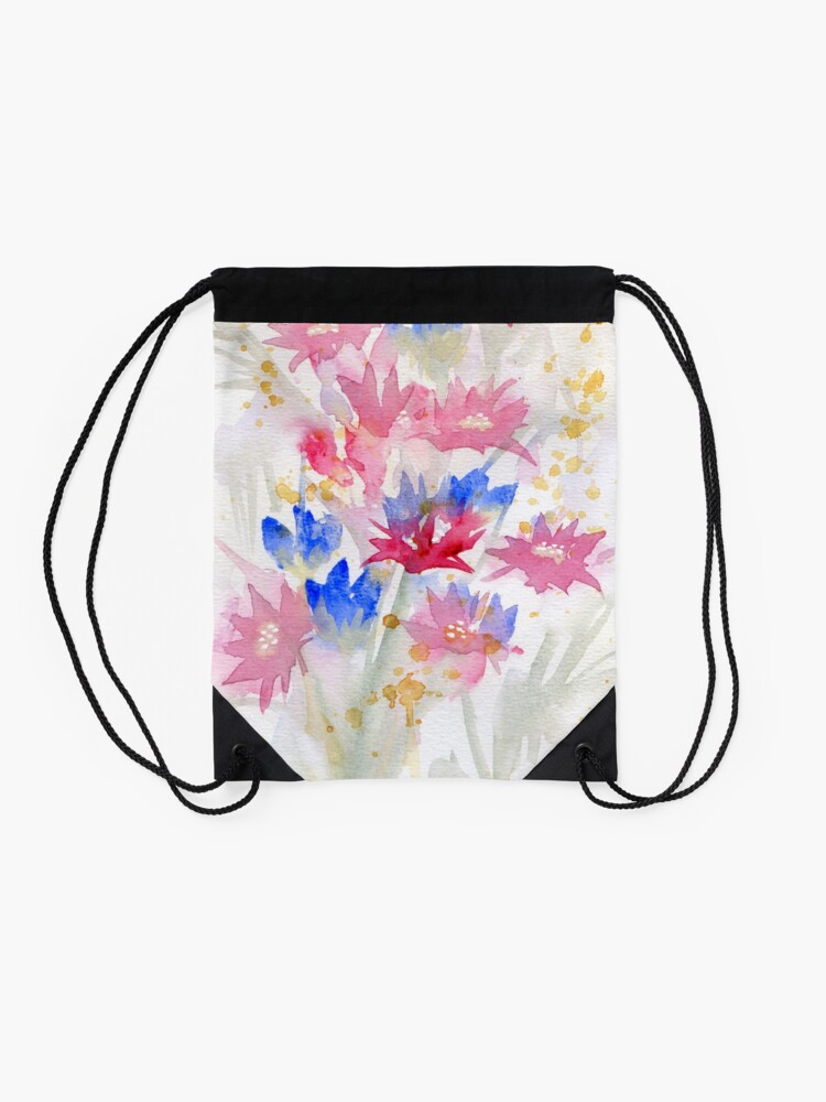 Alternate view of Watercolour Spring Flowers 02 - Limited Palette Drawstring Bag