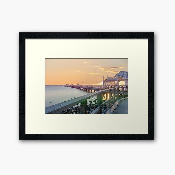 Sunset at Woody Point Jetty Queensland Australia Framed Art Print