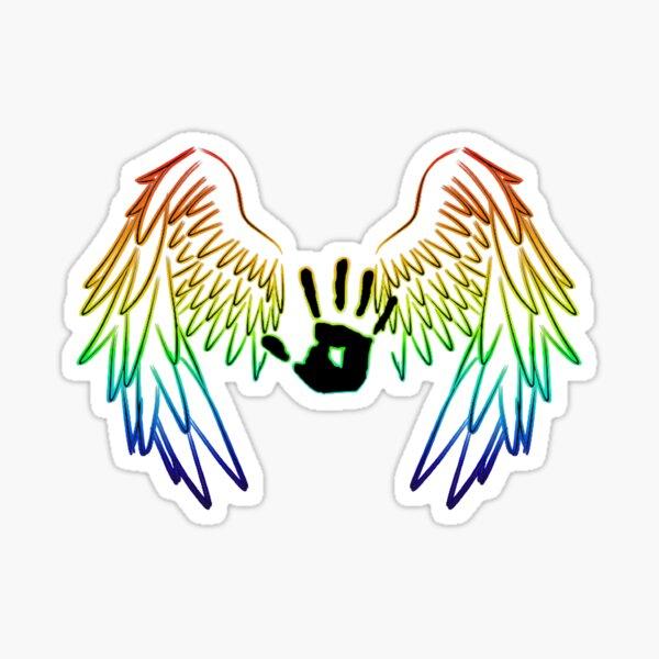 Übernatürlich: Regenbogen-Engelsflügel mit Handabdruck Sticker
