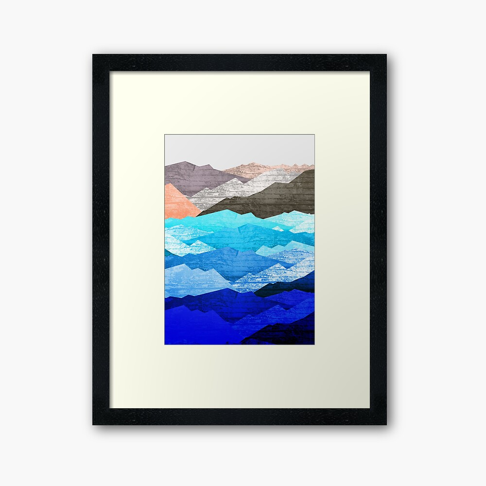 The mountains and the sea  Framed Art Print