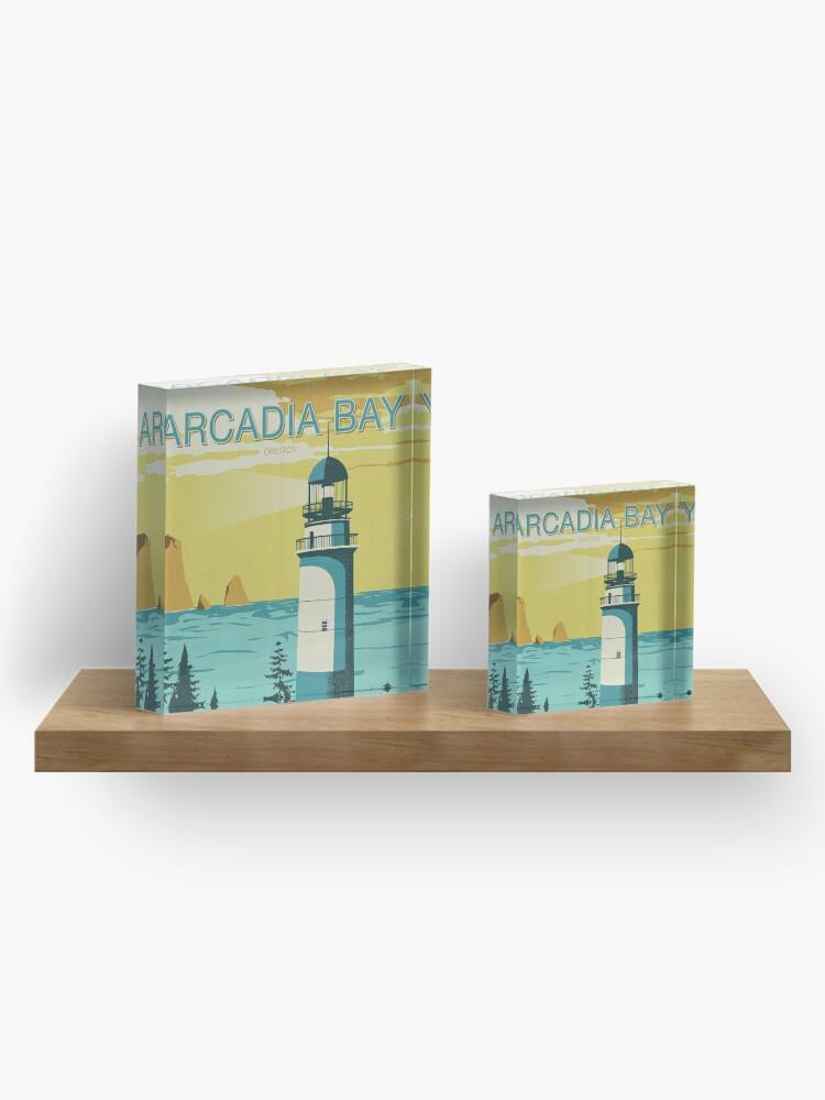 Alternate view of Arcadia Bay - Vintage Tourism Poster Acrylic Block