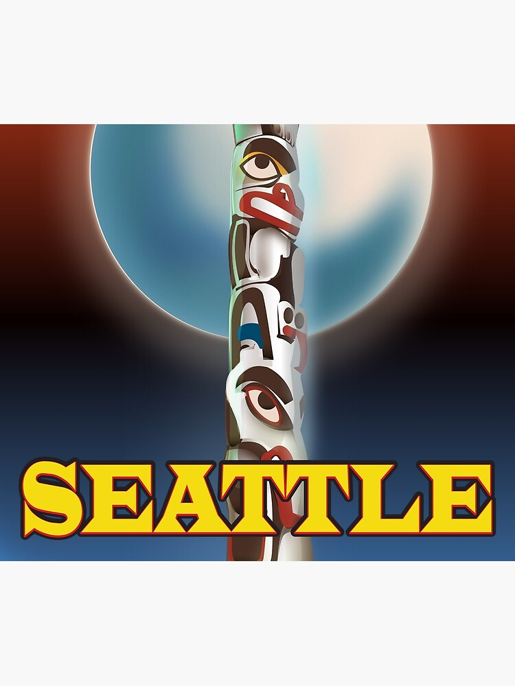 Seattle Totem Pole vintage style travel poster by vectorwebstore