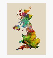 Great Britain Watercolor Map Fotodruck