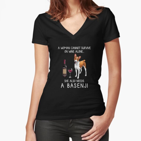 Basenji and wine Funny dog Fitted V-Neck T-Shirt