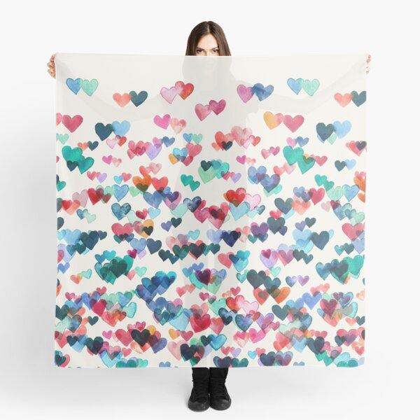 Heart Connections - Watercolor Painting Scarf