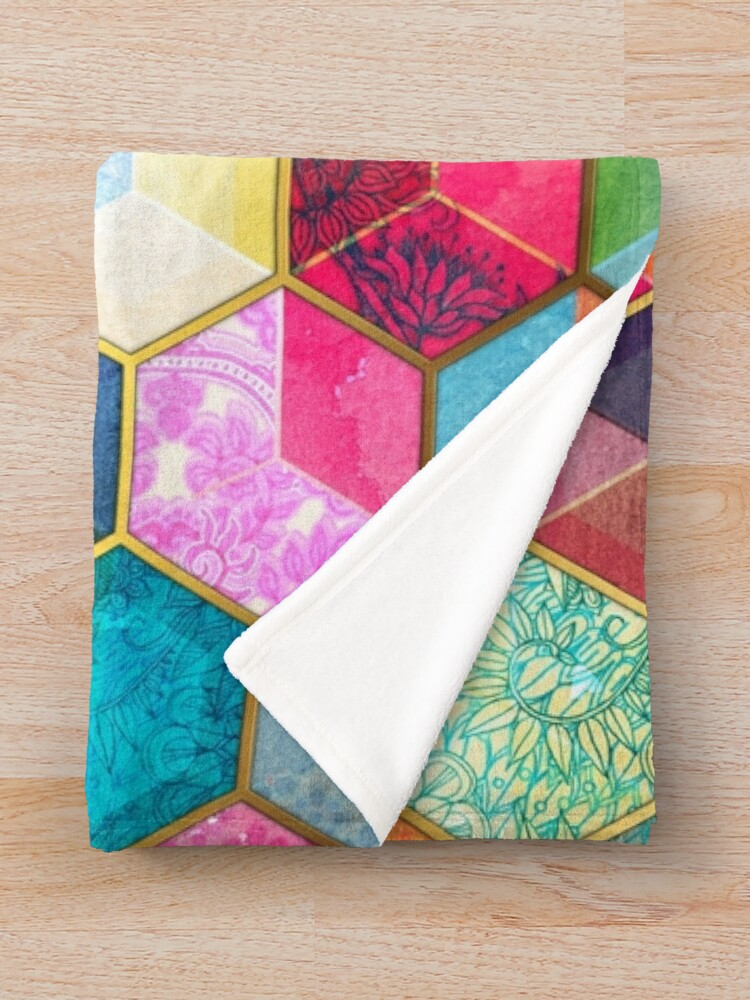 Alternate view of Crystal Bohemian Honeycomb Cubes - colorful hexagon pattern Throw Blanket