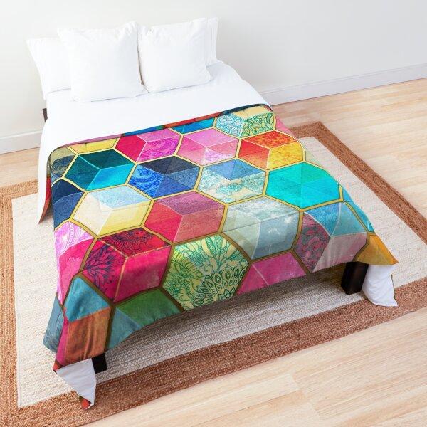 Crystal Bohemian Honeycomb Cubes - colorful hexagon pattern Comforter