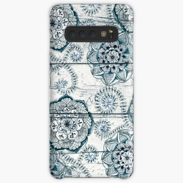 Shabby Chic Navy Blue doodles on Wood Samsung Galaxy Snap Case