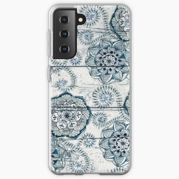 Shabby Chic Navy Blue doodles on Wood Samsung Galaxy Soft Case