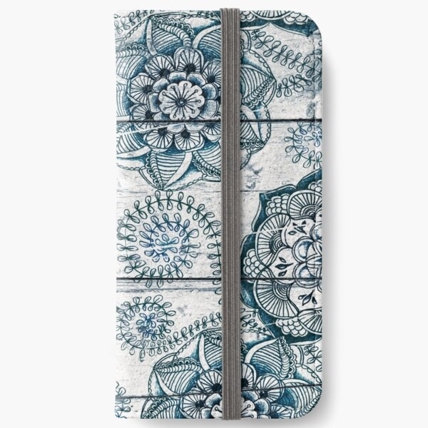 Shabby Chic Navy Blue doodles on Wood iPhone Wallet