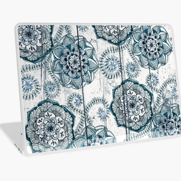 Shabby Chic Navy Blue doodles on Wood Laptop Skin