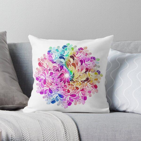 Rainbow Watercolor Paisley Flower Throw Pillow