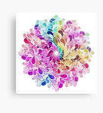 Rainbow Watercolor Paisley Flower Metal Print