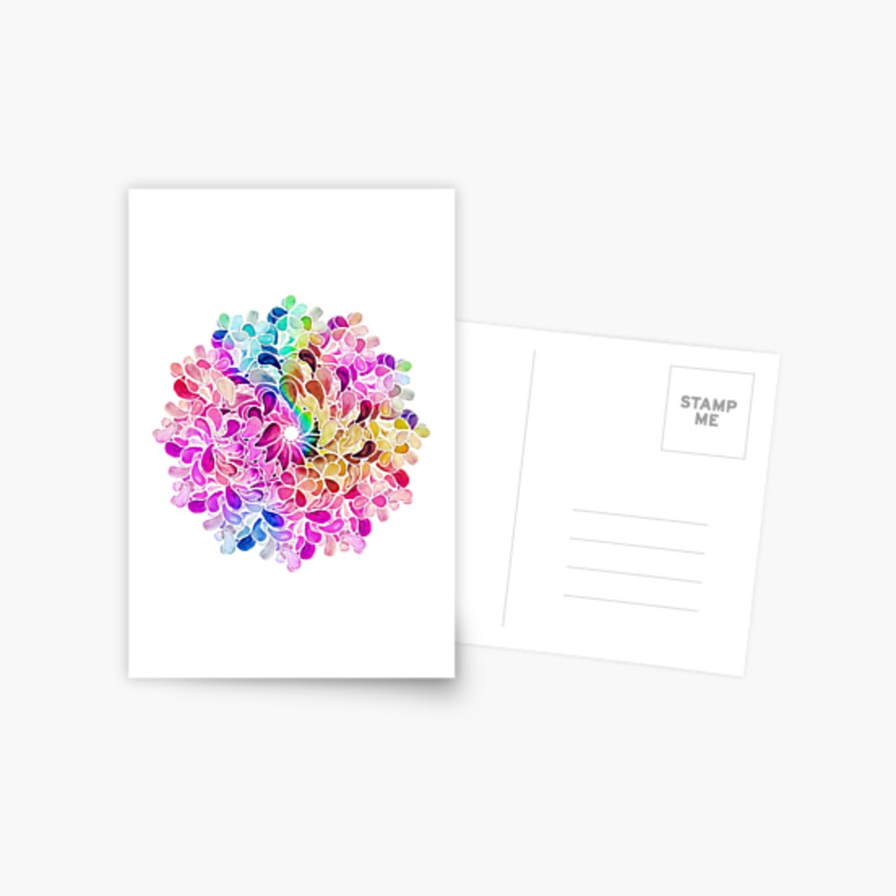 Rainbow Watercolor Paisley Flower Postcard