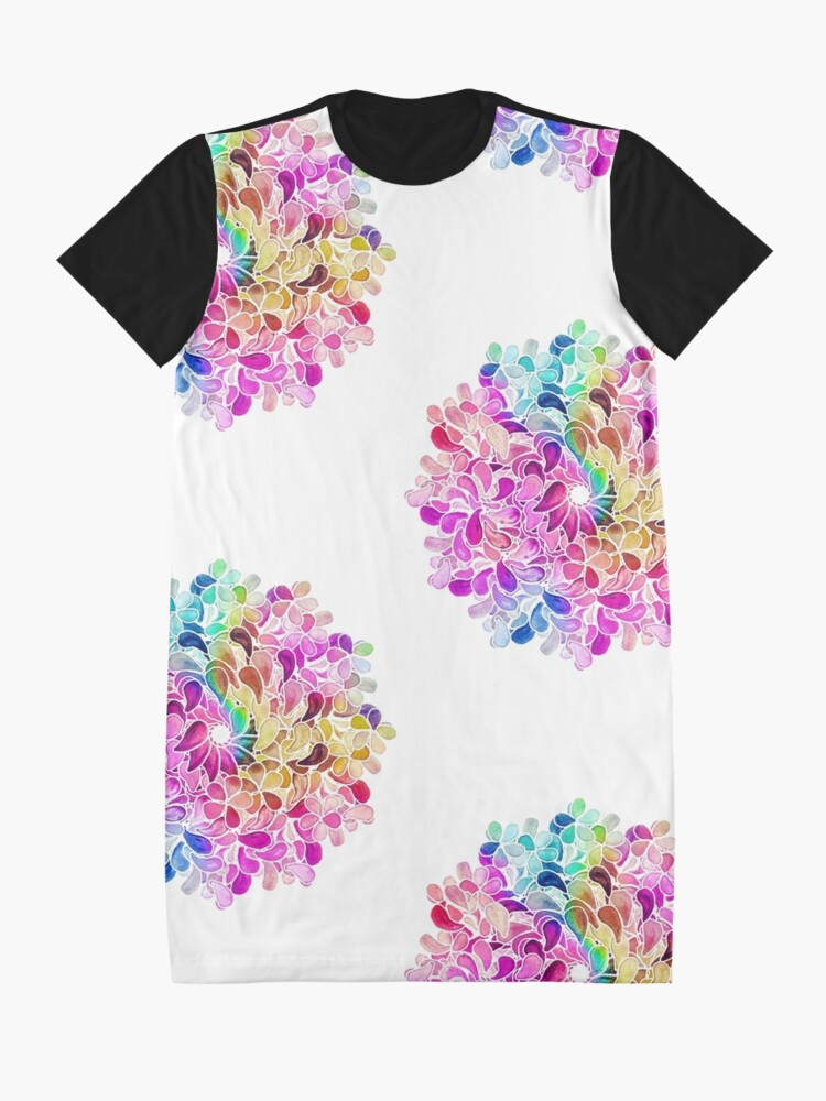 Alternate view of Rainbow Watercolor Paisley Flower Graphic T-Shirt Dress