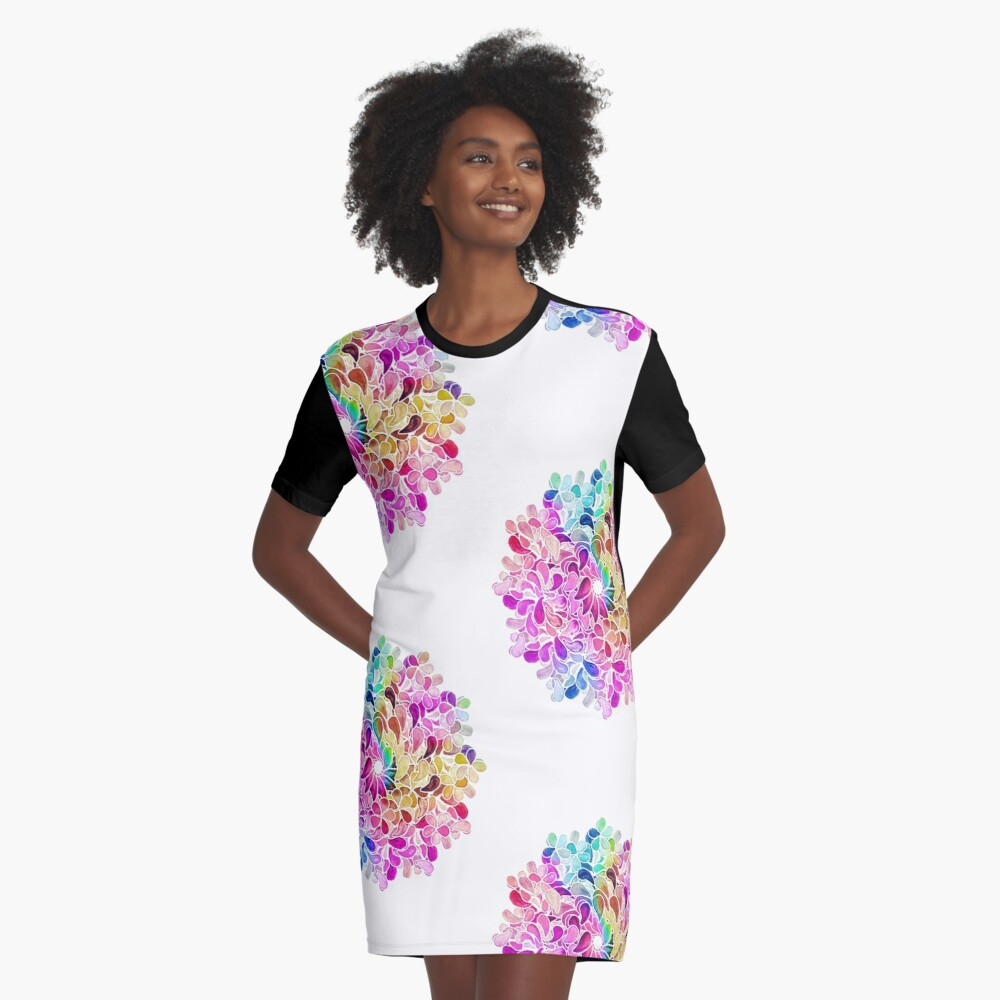 Rainbow Watercolor Paisley Flower Graphic T-Shirt Dress