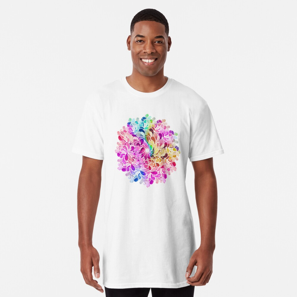 Rainbow Watercolor Paisley Flower Long T-Shirt