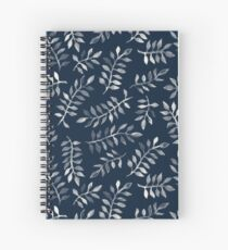 White Leaves on Navy - a hand painted pattern Spiral Notebook