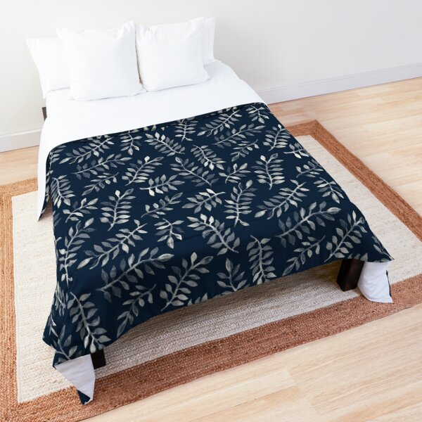 White Leaves on Navy - a hand painted pattern Comforter
