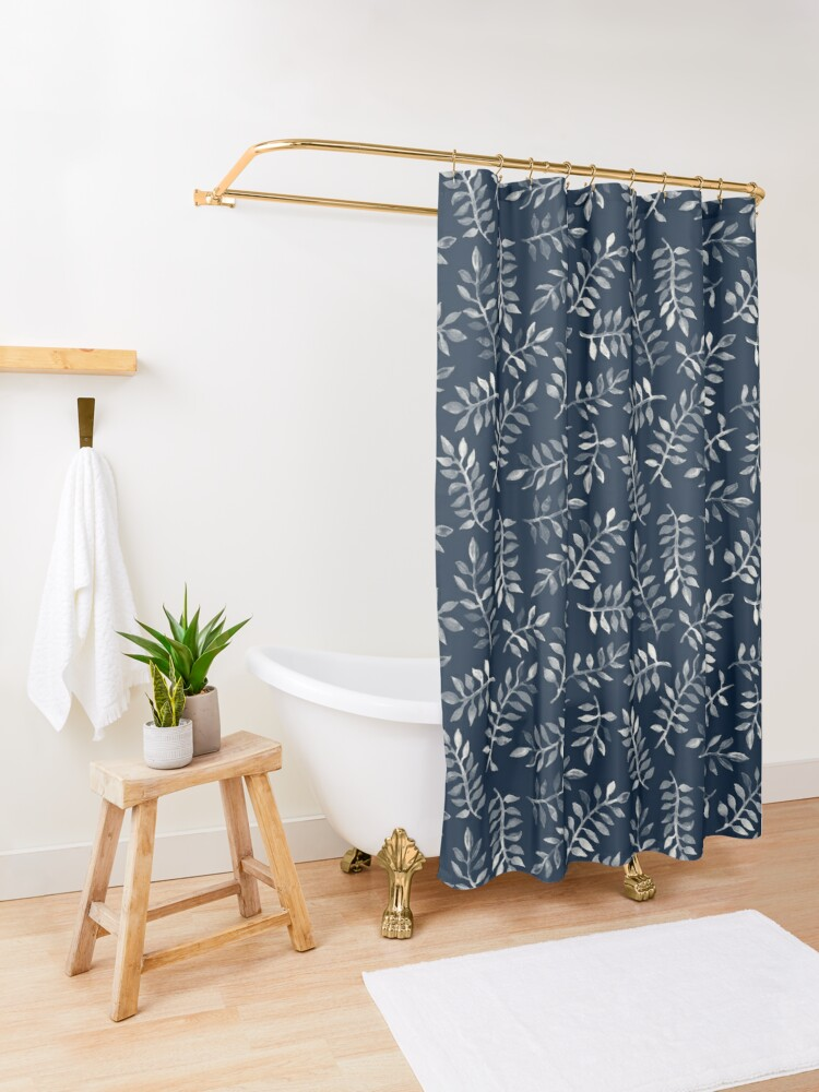 Alternate view of White Leaves on Navy - a hand painted pattern Shower Curtain