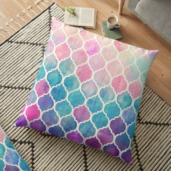 Rainbow Pastel Watercolor Moroccan Pattern Floor Pillow