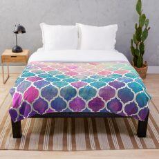 Regenbogen Pastell Aquarell marokkanischen Muster Fleecedecke