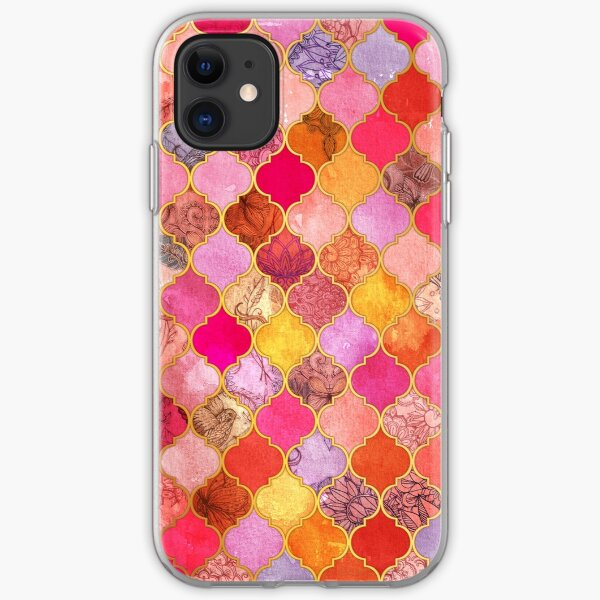 Hot Pink, Gold, Tangerine & Taupe Decorative Moroccan Tile Pattern iPhone Soft Case