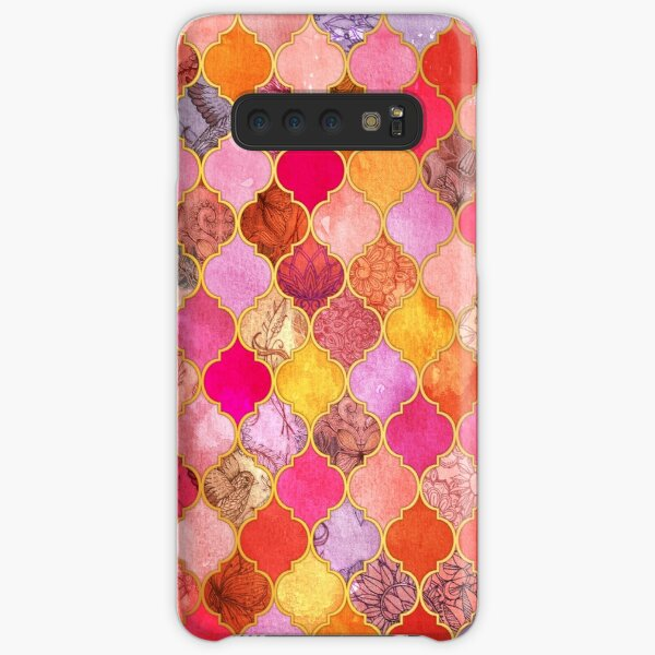 Hot Pink, Gold, Tangerine & Taupe Decorative Moroccan Tile Pattern Samsung Galaxy Snap Case