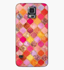 Hot Pink, Gold, Tangerine & Taupe Decorative Moroccan Tile Pattern Case/Skin for Samsung Galaxy