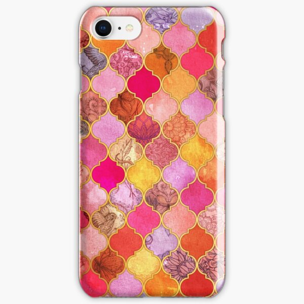 Hot Pink, Gold, Tangerine & Taupe Decorative Moroccan Tile Pattern iPhone Snap Case