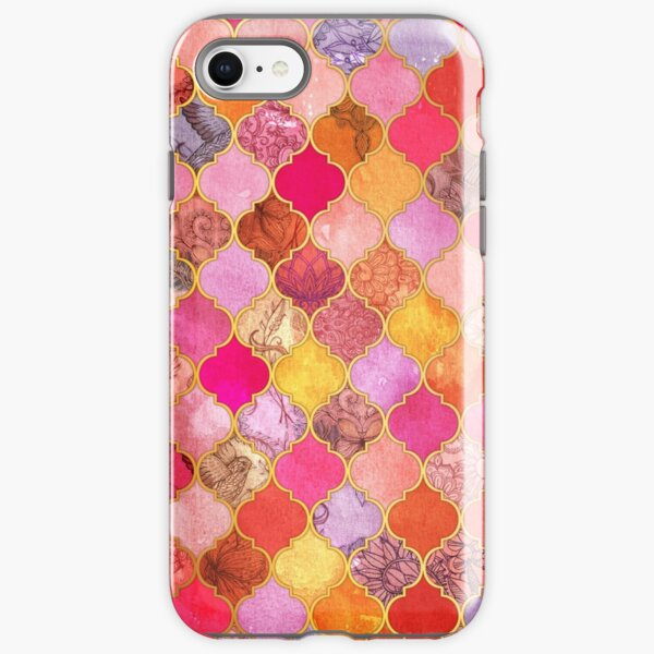 Hot Pink, Gold, Tangerine & Taupe Decorative Moroccan Tile Pattern iPhone Tough Case