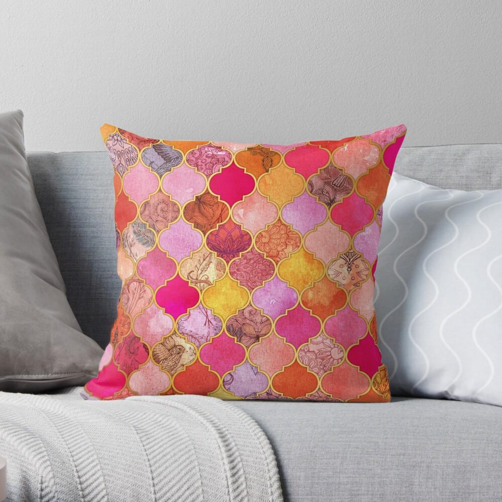 Pink, Gold, Mandarine & Taupe Dekorative marokkanische Fliesenmuster Dekokissen