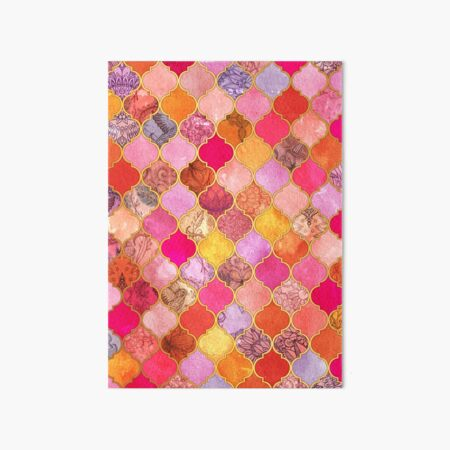 Hot Pink, Gold, Tangerine & Taupe Decorative Moroccan Tile Pattern Art Board Print
