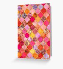 Tarjeta de felicitación Patrón de mosaico marroquí decorativo rosa, oro, mandarina y marrón caliente
