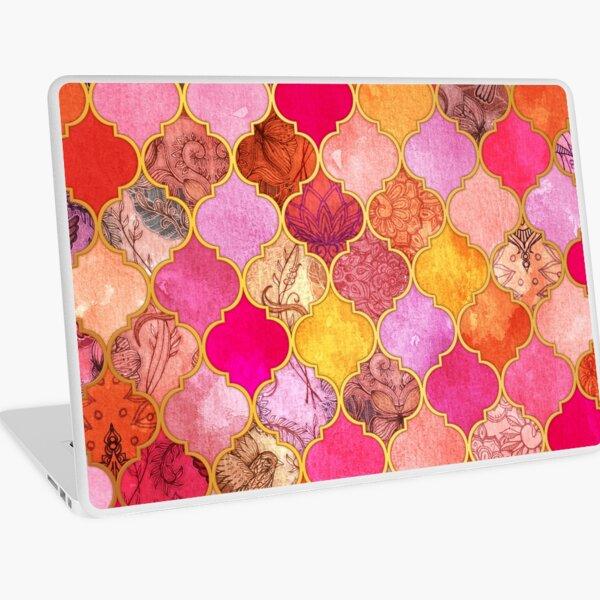 Hot Pink, Gold, Tangerine & Taupe Decorative Moroccan Tile Pattern Laptop Skin