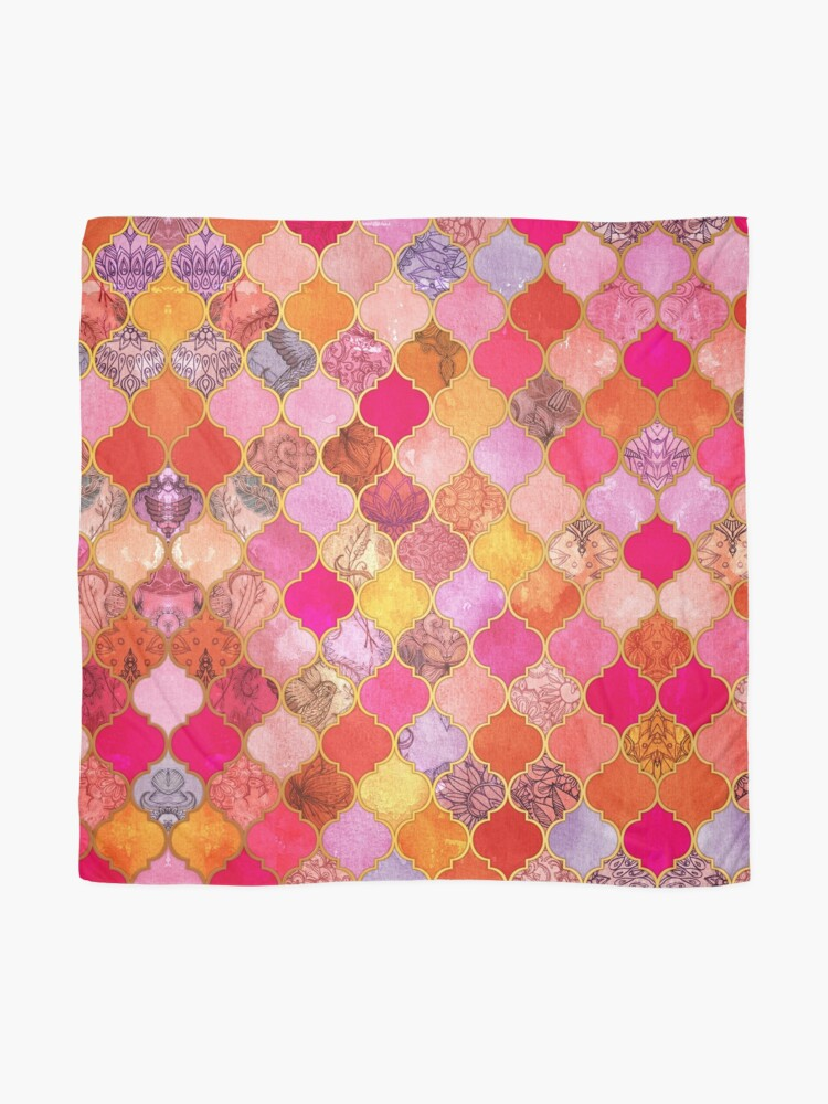 Alternate view of Hot Pink, Gold, Tangerine & Taupe Decorative Moroccan Tile Pattern Scarf