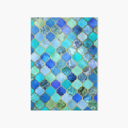 Cobalt Blue, Aqua & Gold Decorative Moroccan Tile Pattern Art Board Print