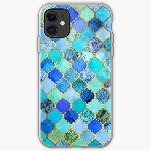 Cobalt Blue, Aqua & Gold Decorative Moroccan Tile Pattern iPhone Soft Case