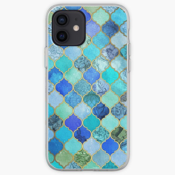 Cobalt Blue, Aqua & Gold Decorative Moroccan Tile Pattern iPhone Soft Case